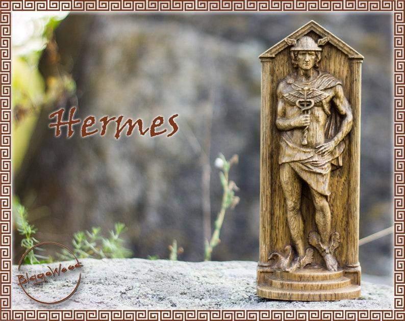Wooden Hermes Hermes Figurine Greek God Pagan God Olympian God Wiccan Wicca Altar Druid Witch Gaelic