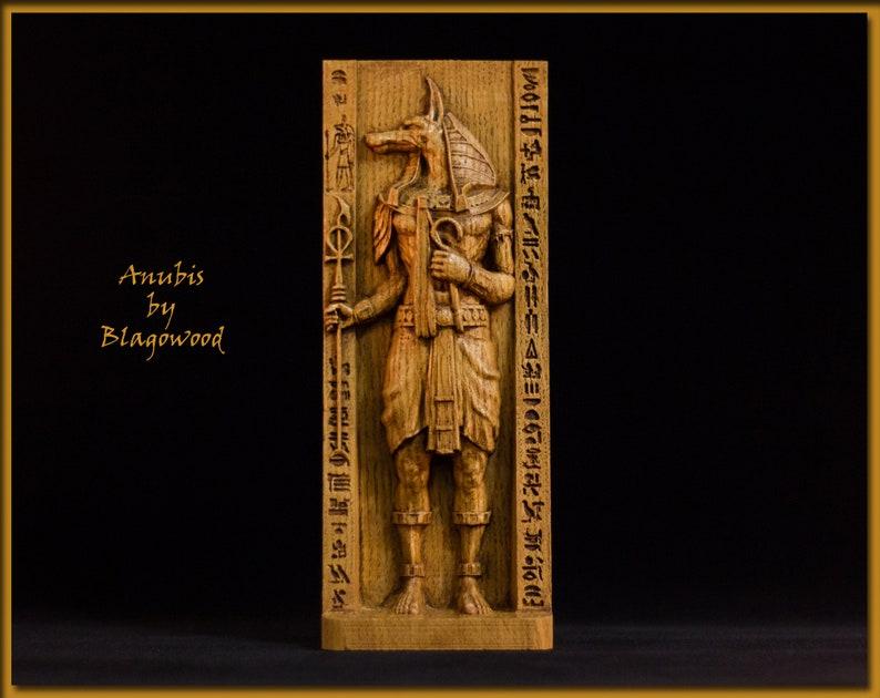 Wooden Anubis Anubis Figurine Egyptian God God Of Etsy