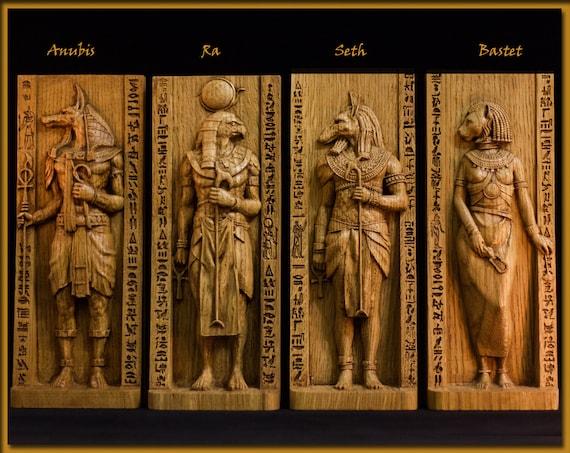 Wooden Ra Ra Figurine Egyptian God God Of Sun Pagan Gods Egypt Mythology Wicca Altar Witches Kemet Nubian Statue