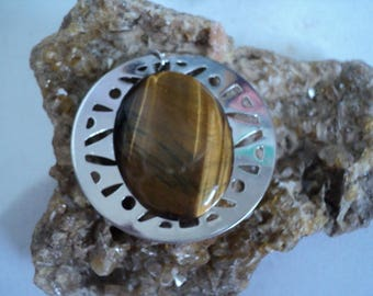Necklace Oval Tiger Eye on Chain Repurposed (831)
