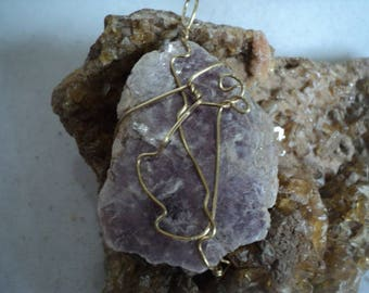 Lepidolite in Gold Tone Wire Wrap  on Chain (1230)