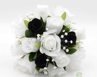 Black white bouquet etsy artificial wedding flowers black white bridesmaids bouquet posy mightylinksfo