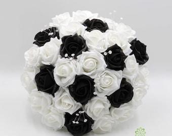 black white bouquet etsy