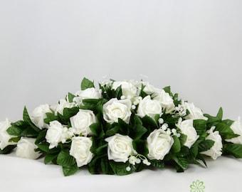 Silk wedding flowers etsy silk wedding flowers white rose top table decoration mightylinksfo