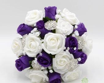 Purple white bouquet | Etsy