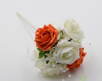 Artificial Wedding Flowers Orange Coral Foam Rose Buttonhole