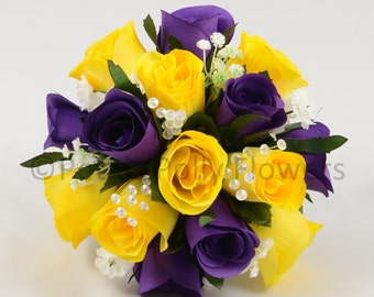 Purple yellow wedding bouquet etsy artificial wedding flowers purple yellow bridesmaids bouquet posy mightylinksfo