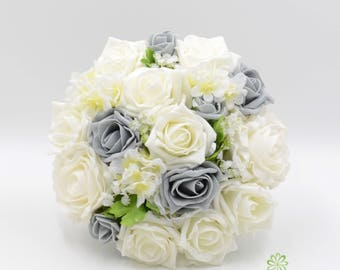Artificial Wedding Flowers, Grey U0026 Ivory Rose Bridesmaids Bouquet Posy With  Ranunculus