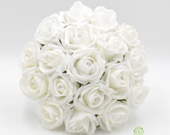 White rose bouquet etsy artificial wedding flowers white bridesmaids bouquet posy with diamante rose centres mightylinksfo