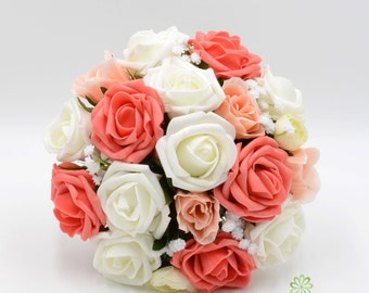 Artificial Wedding Flowers, Orange Coral, Peach & Ivory Rose Bridesmaids Bouquet Posy with Ranunculus