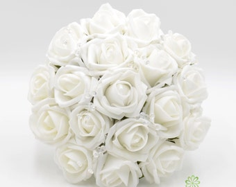 Artificial Wedding Flowers, White Bridesmaids Bouquet Posy