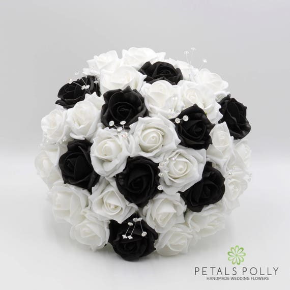 Artificial wedding flowers black white rose brides bouquet etsy image 0 mightylinksfo
