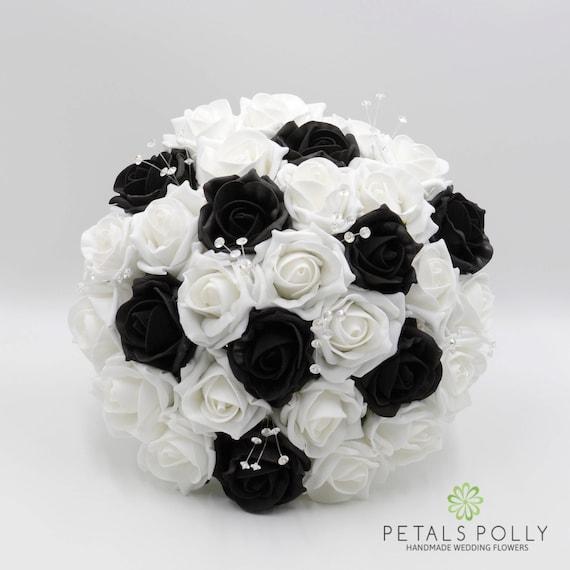 Artificial Wedding Flowers Black White Rose Brides Bouquet Etsy