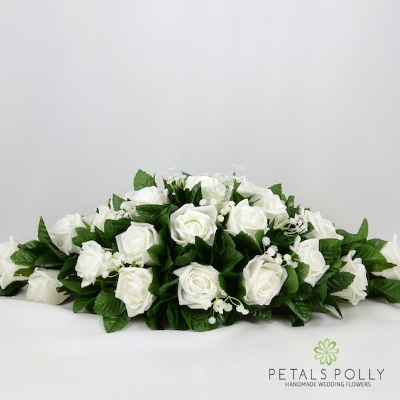 Silk Wedding Flowers White Rose Top Table Decoration