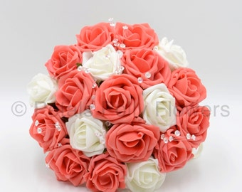 Artificial Wedding Flowers, Orange Coral & Ivory Rose Bridesmaids Bouquet Posy