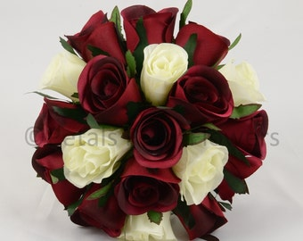 Artificial Wedding Flowers, Burgundy & Ivory Bridesmaids Bouquet Posy (1)