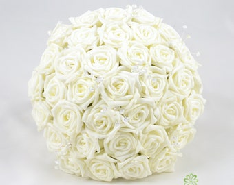 Artificial Wedding Flowers, Ivory Rose Brides Bouquet Posy