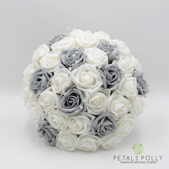 Sztuczne Wesele Kwiaty Szare I Białe Róża Narzeczonych Bukiet Etsy
