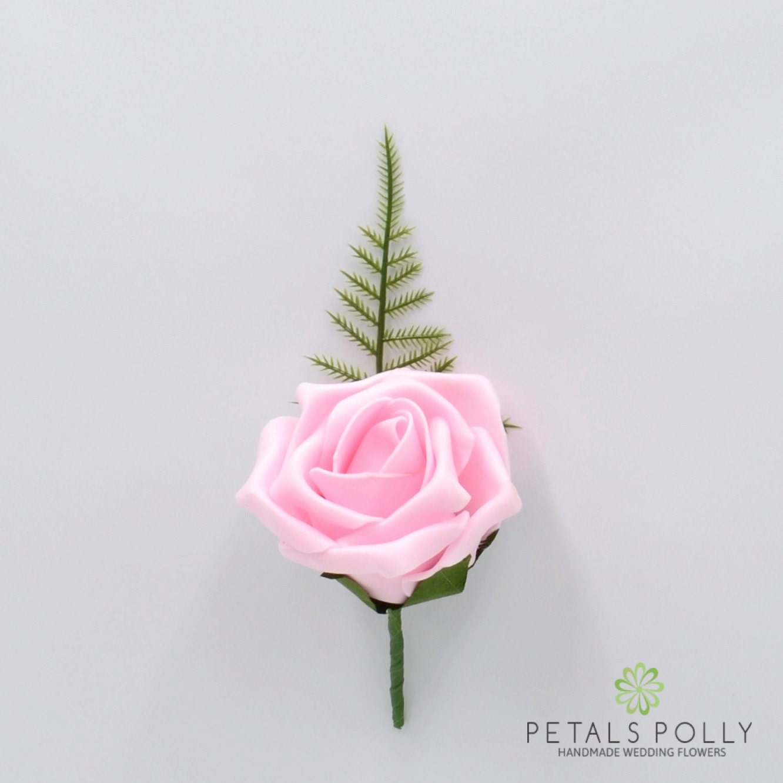 Artificial Wedding Flowers Baby Pink Foam Rose Buttonhole | Etsy
