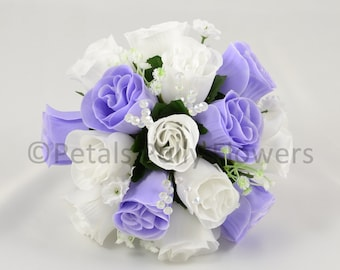 Artificial Wedding Flowers, Lilac & White Bridesmaids Bouquet Posy