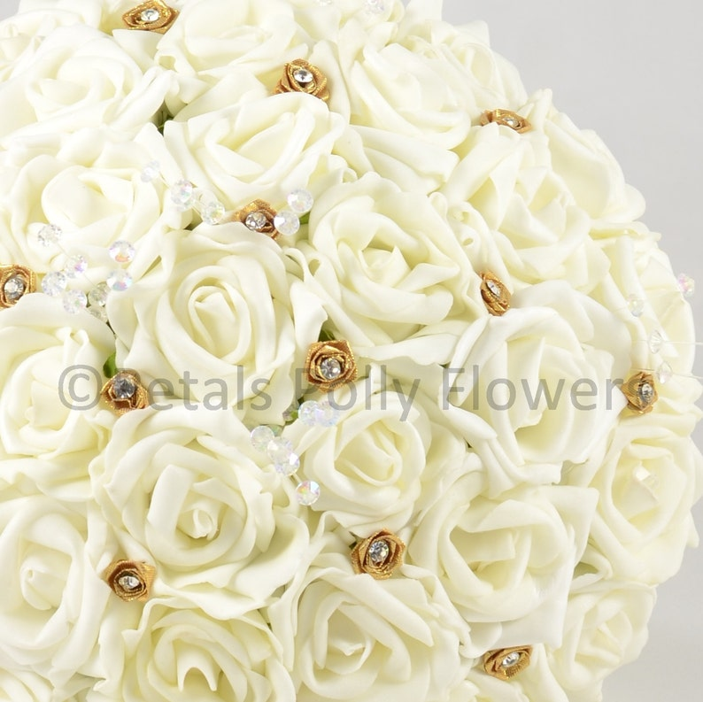 Artificial Wedding Flowers Ivory /& Gold Rose Brides Bouquet Posy