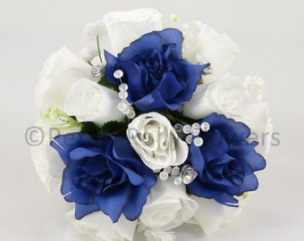 Artificial Wedding Flowers, Navy Blue & White Bridesmaids Bouquet Posy