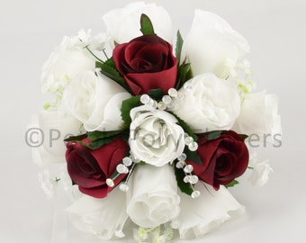Artificial Wedding Flowers, Burgundy & White Bridesmaids Bouquet Posy