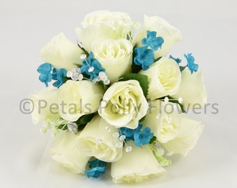 Artificial Wedding Flowers, Teal & Ivory Bridesmaids Bouquet Posy