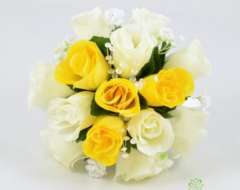 Artificial Wedding Flowers, Yellow & Ivory Bridesmaids Bouquet Posy