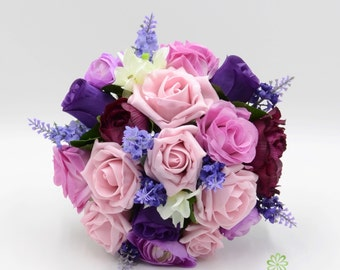 Artificial Wedding Flowers, Purple & Antique Pink Bridesmaids Bouquet Posy with Lavender