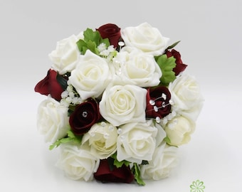 Artificial Wedding Flowers, Burgundy & Ivory Rose with Ranunculus Bridesmaids Bouquet Posy