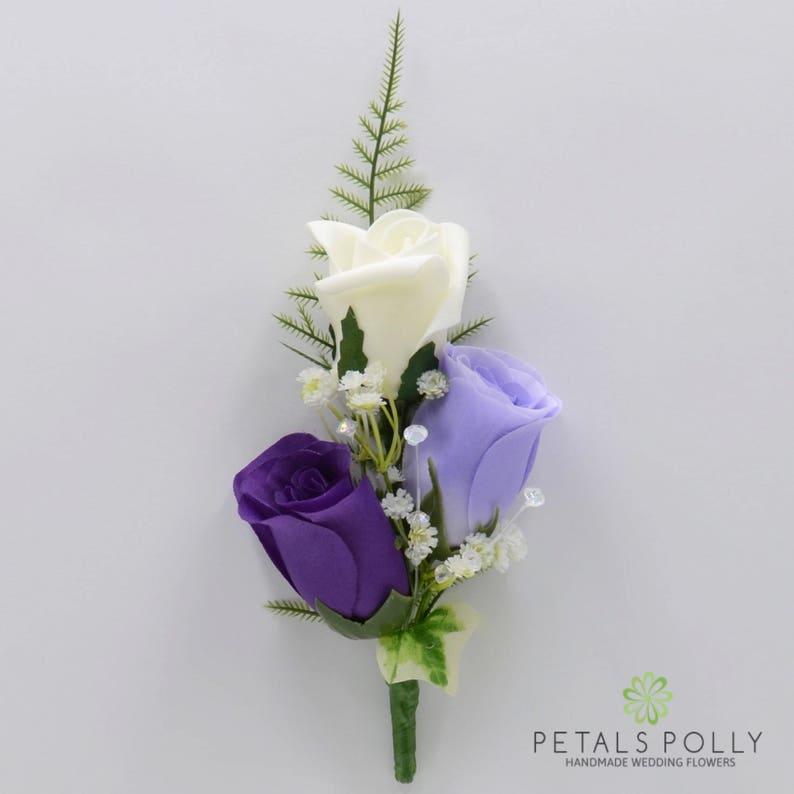 Lilac /& Ivory Triple Rose Gents Buttonhole  Ladies Corsage Artificial Wedding Flowers Purple