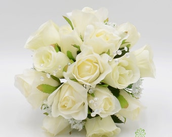 Artificial Wedding Flowers, Cream/Ivory Bridesmaids Bouquet Posy