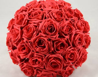 Artificial Wedding Flowers, Red Brides Bouquet Posy