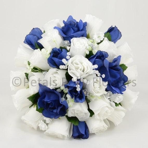 Fleurs Artificielles Mariage Bleu Marine Blanc Brides Etsy