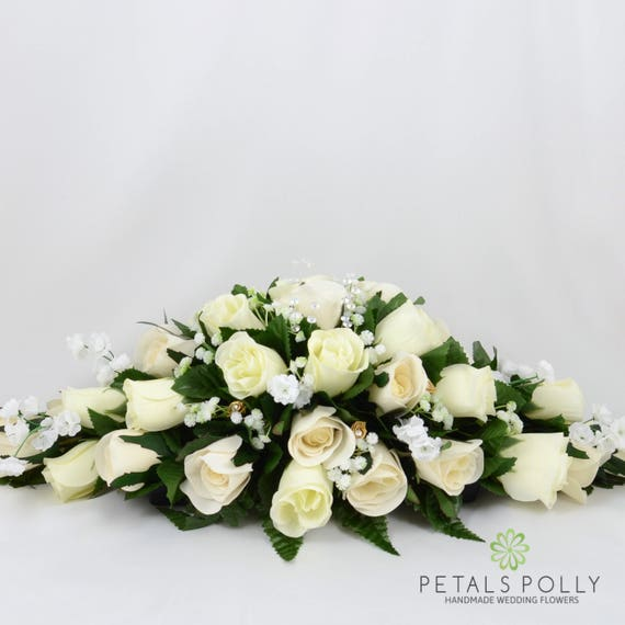 Silk Wedding Flowers Ivory Gold Rose Top Table Decoration