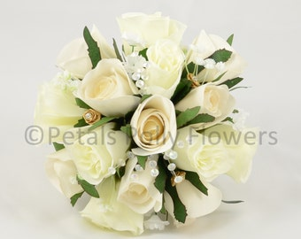 Artificial Wedding Flowers, Champagne & Gold Bridesmaids Bouquet Posy