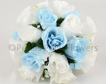 Artificial Wedding Flowers, Baby Blue & White Bridesmaids Bouquet Posy