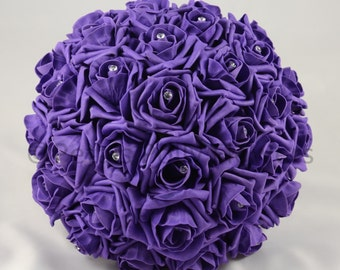 Artificial Wedding Flowers, Purple Brides Bouquet Posy