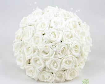 Artificial Wedding Flowers, White Rose Brides Bouquet Posy