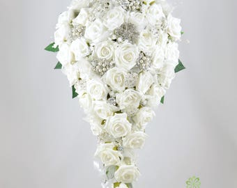 Artificial Wedding Flowers, White Rose Brides Teardrop Bouquet with Diamante Brooches
