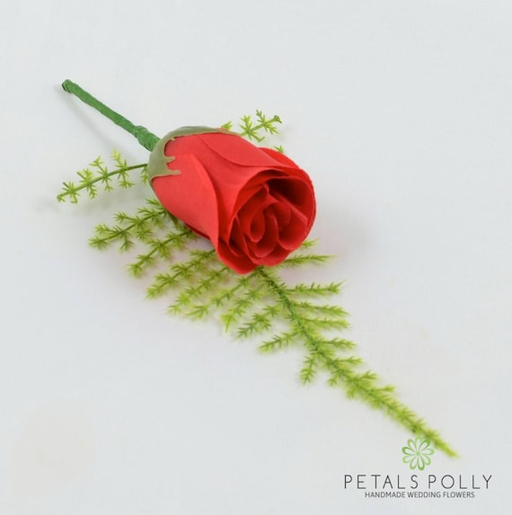 Artificial Wedding Flowers Hand-Made by Petals Polly Silk Rose Buttonhole in White with Crystal Ivy /& Greenery