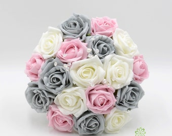 Artificial Wedding Flowers, Grey, Baby Pink & Ivory Bridesmaids Bouquet Posy