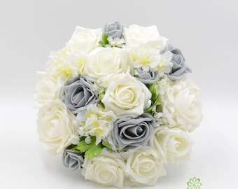Artificial Wedding Flowers, Grey & Ivory Rose Bridesmaids Bouquet Posy with Ranunculus