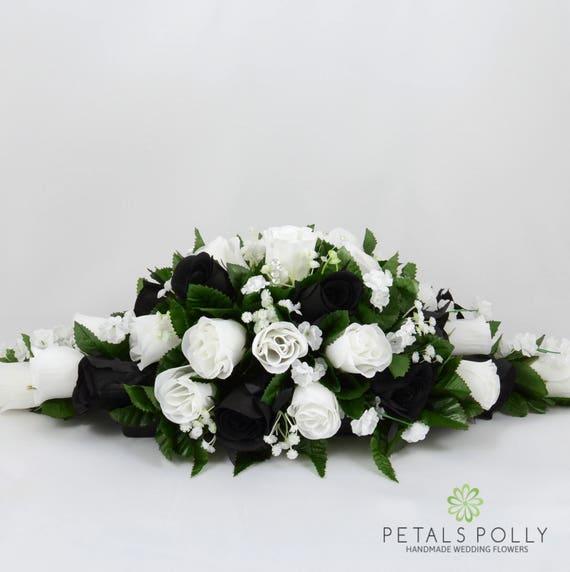 Silk Wedding Flowers Black White Rose Top Table Decoration