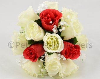 Artificial Wedding Flowers, Red & Ivory Bridesmaids Bouquet Posy