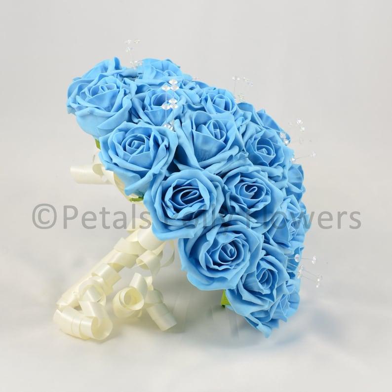 Aqua Rose Brides Bouquet Posy Artificial Wedding Flowers