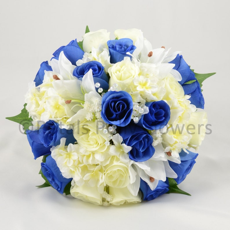 Artificial Wedding Flowers Royal Blue /& Ivory Brides Bouquet Posy with Hydrangea