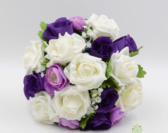 Artificial Wedding Flowers, Purple & Ivory Rose Bridesmaids Bouquet Posy with Ranunculus