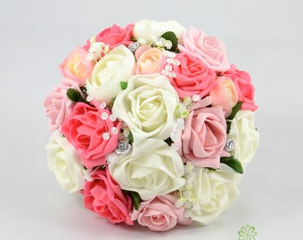 Artificial Wedding Flowers, Antique Pink, Coral & Ivory Rose Bridesmaids Bouquet Posy with Ranunculus